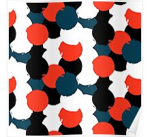 Bold geometric pattern with randomly colored circles Poster