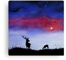Stag In Moonlight Canvas Print