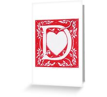 Red Heart Letter D Greeting Card