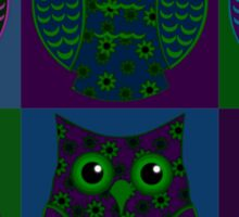 Blue, Green, & Purple Floral Owls Patchwork Sticker