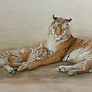 Tiger and cub by Charlotte Yealey