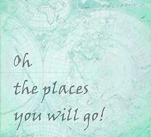 Mint Green World Map Inspirational Quote, back to school by Saburkitty