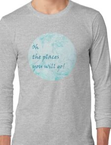 Bright Aqua Blue World Map Inspirational Quote, back to school Long Sleeve T-Shirt