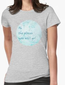 Bright Aqua Blue World Map Inspirational Quote, back to school Womens Fitted T-Shirt