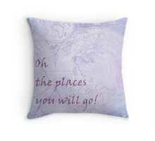Vivid Purple Lavender World Map Inspirational Quote, back to school Throw Pillow