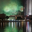 Fireworks over Singapore River by Mark Bolton