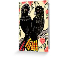 Pair Black Cockatoos Greeting Card