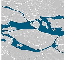 Stockholm city map grey colour by mmapprints