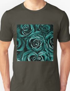Rose Bouquet in Turquoise Unisex T-Shirt