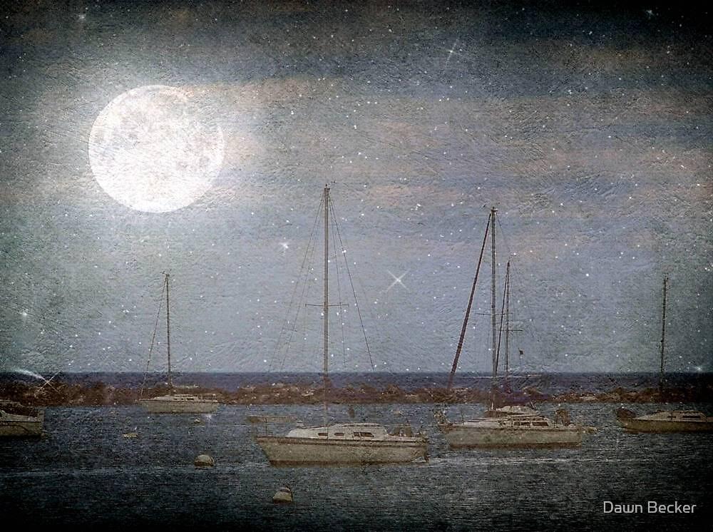 Sail Boats Asleep Beneath the Harvest Moon © by Dawn Becker