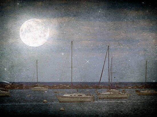 Sail Boats Asleep Beneath the Harvest Moon © by Dawn M. Becker