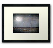 Sail Boats Asleep Beneath the Harvest Moon © Framed Print