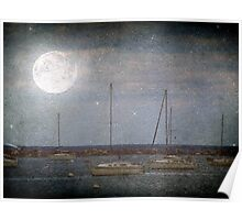 Sail Boats Asleep Beneath the Harvest Moon © Poster