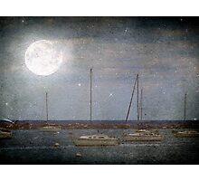 Sail Boats Asleep Beneath the Harvest Moon © Photographic Print