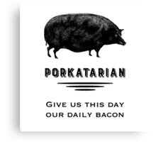 Porkatarian - Bacon Lover's Vintage Pig Canvas Print
