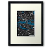 Stockholm city map black colour Framed Print