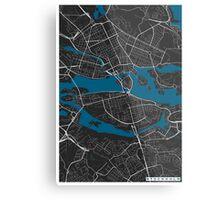 Stockholm city map black colour Metal Print