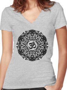 Flower Mandala & Om Women's Fitted V-Neck T-Shirt