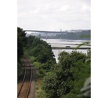 Transport systems Rail track River, Bridge and air - Derry Ireland Photographic Print