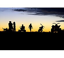 Outback Sunset - Kids on a motorbike Photographic Print