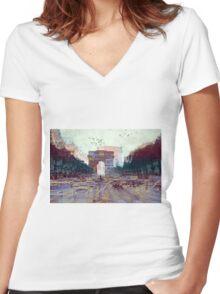 Parisian Mosaic - Piece 25 - Les Champs-Élysées Women's Fitted V-Neck T-Shirt