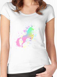 Fantasy Rainbow Paint Splattered Unicorn Women's Fitted Scoop T-Shirt