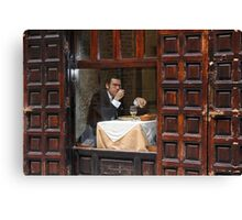 Memories of Spain 3 - Lonely Man Dinner in Madrid's Latin Quarter Canvas Print