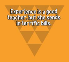 Experience is a good teacher' but she sends in terrific bills. by margdbrown