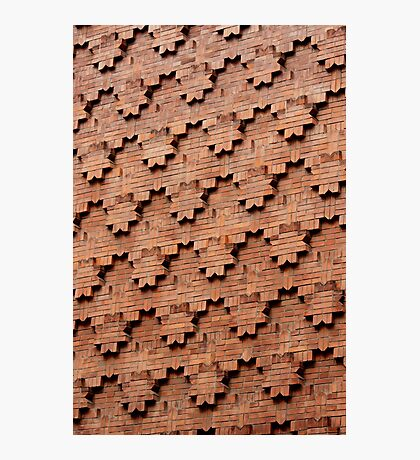 Brick Patterns on a Wall, Turin, Italy Photographic Print
