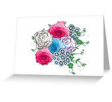 Pretty Flowers Pink Blue Rose Bouquet Greeting Card