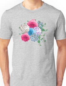 Pretty Flowers Pink Blue Rose Bouquet Unisex T-Shirt