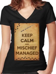Keep Calm and Mischief Managed Women's Fitted V-Neck T-Shirt