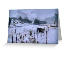 Train rolling down the tracks Greeting Card