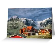 Village in the arms of the Mountains Greeting Card