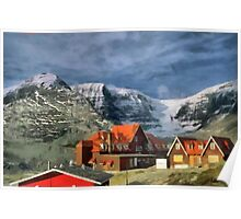 Village in the arms of the Mountains Poster
