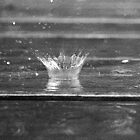 crashing raindrop black and white by chasityperry