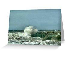 Waves kissing the rocks Greeting Card
