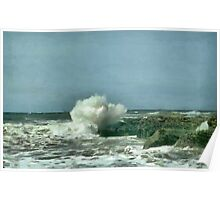 Waves kissing the rocks Poster
