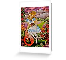 Alice Playing Croquet in the Queens Garden Greeting Card