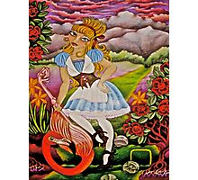 Alice Playing Croquet in the Queens Garden Photographic Print