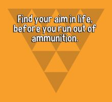 Find your aim in life' before you run out of ammunition. by margdbrown