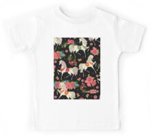 Dancing Horse with Red Rose Flower in Black Background Pattern Kids Tee