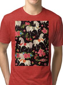 Dancing Horse with Red Rose Flower in Black Background Pattern Tri-blend T-Shirt
