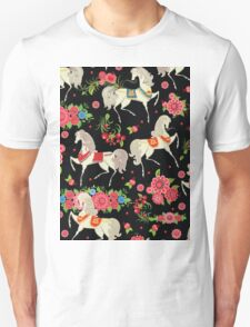 Dancing Horse with Red Rose Flower in Black Background Pattern Unisex T-Shirt