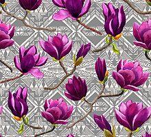 Watercolor Magnolia Tribal by Yuliya Shora
