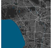 Los Angeles city map black colour by mmapprints