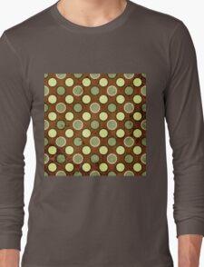 Vintage Retro Polkadot Brown Pattern Long Sleeve T-Shirt