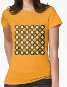 Vintage Retro Polkadot Brown Pattern Womens Fitted T-Shirt