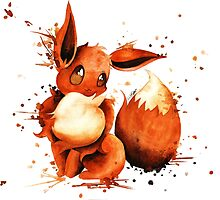 Eevee Pokemon Watercolor Art Illustration by tachadesigns