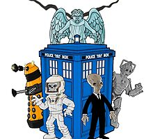 doctor who daleks cyberman silence tardis by dooweedoo